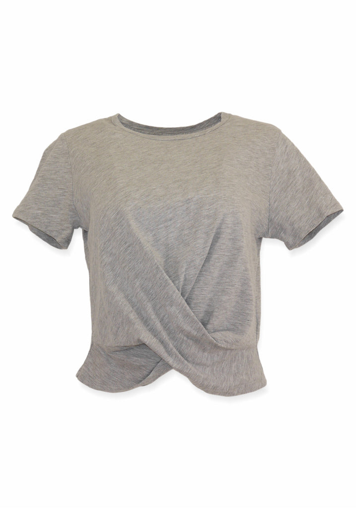 MELLI COTTON TWIST FRONT TOP (GREY) - VELVET