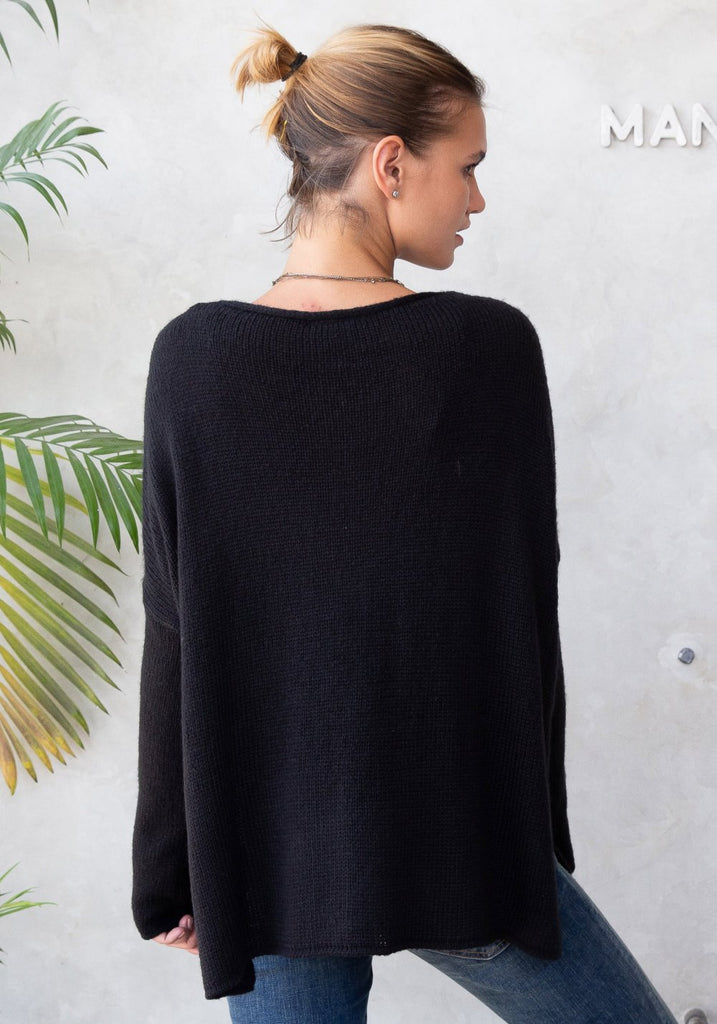 CORMAC CREW NECK SWEATER (BLACK) - WOODEN SHIPS