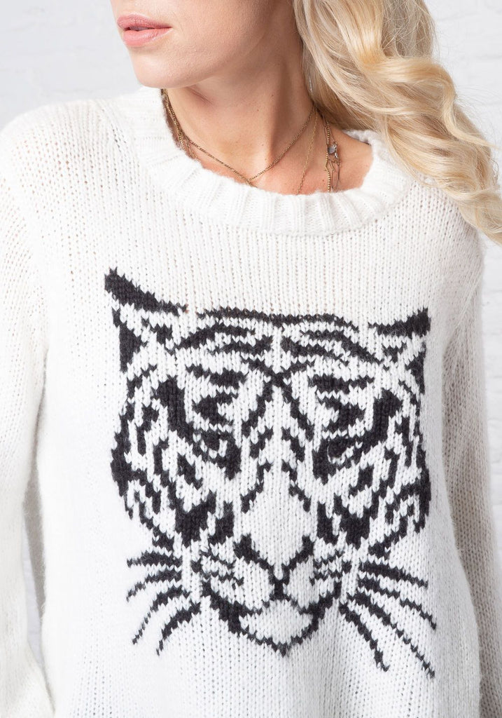 TIGER FACE CHUNKY KNIT SWEATER - WOODEN SHIPS