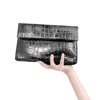 Black Croco Clutch