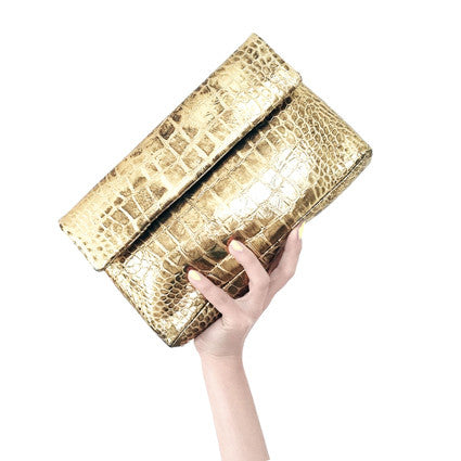 Gold Croco Clutch