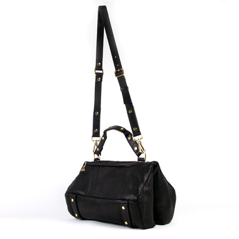 Black Python Duo Satchel - Medium