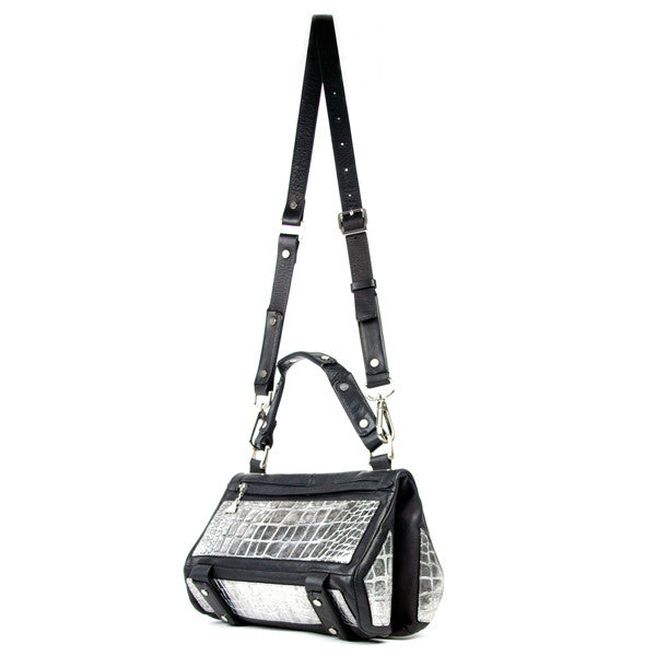 Silver Croc Duo Satchel - Small