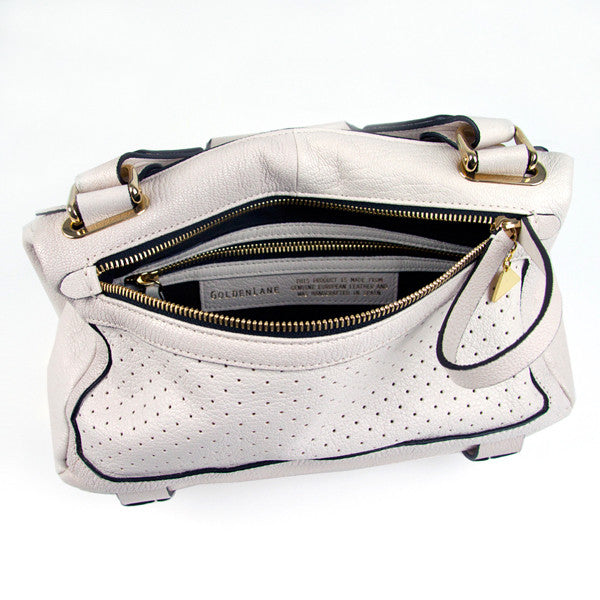 Lavato Cream Perforated Duo Satchel - Small