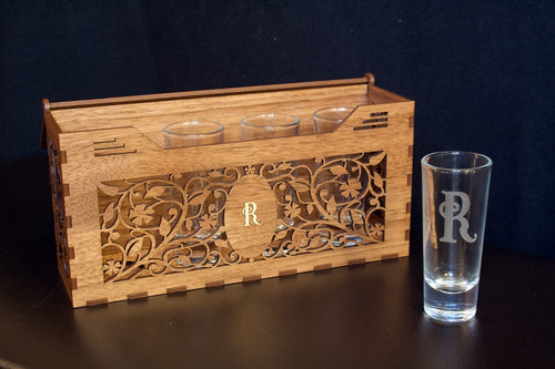 engraved wooden shot box
