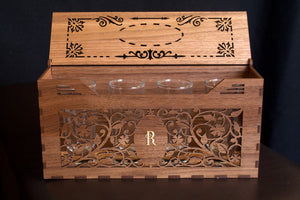 engraved wooden box with shot glasses