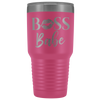 BOSS Babe Lips Lipstick Kiss Print - 30 oz Engraved / Etched Stainless Steel Tumbler Travel Mug | Hot or Cold | 12 Colors Available