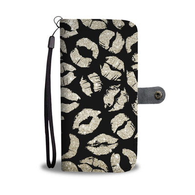 Gold Glitter Lips on Black Cell Phone Wallet Case