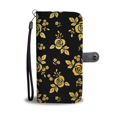 Gold Roses on Black Cell Phone Wallet Case