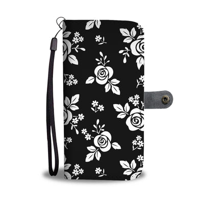 White Rose Flowers on Black Cell Phone Wallet Case