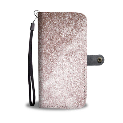 Rose Gold Glitter Cell Phone Wallet Case