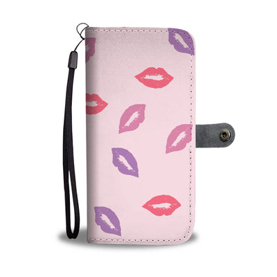 Pastel Pink Lips on Pink Cell Phone Wallet Case