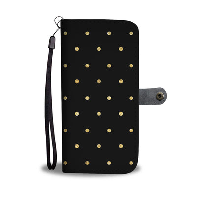 Gold Glitter Polka Dots on Black Cell Phone Wallet Case