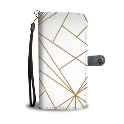 White & Gold Cell Phone Wallet Case