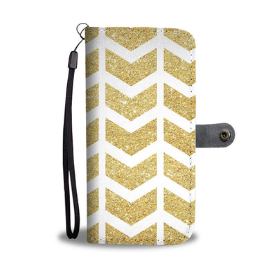 Gold Glitter Arrows Cell Phone Wallet Case