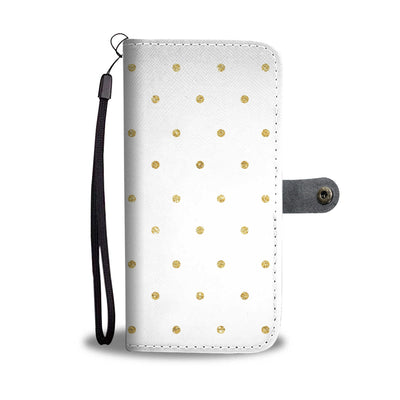 Glitter Polka Dots Cell Phone Wallet Case