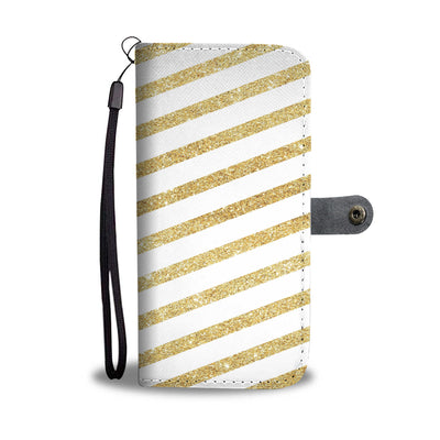 Gold Glitter Stripes Cell Phone Wallet Case