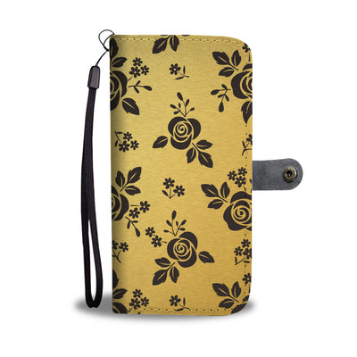 Black Roses on Gold Cell Phone Wallet Case