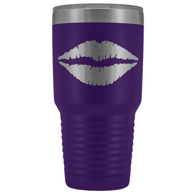 Just Lips 30 oz Travel Tumbler | Etched / Engraved Stainless Steel Mug Hot/Cold Cup - 12 Colors Available