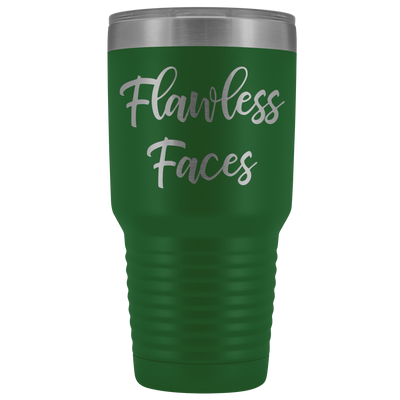 Flawless Faces 30 oz Travel Tumbler | Etched / Engraved Stainless Steel Mug Hot/Cold Cup - 12 Colors Available