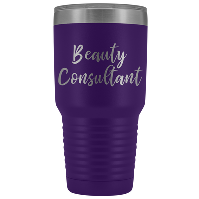 Beauty Consultant 30 oz Travel Tumbler | Etched / Engraved Stainless Steel Mug Hot/Cold Cup - 12 Colors Available