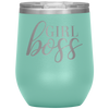 Girl Boss - 12 OZ STEMLESS WINE TUMBLER | ETCHED / ENGRAVED STAINLESS STEEL MUG HOT/COLD CUP - 13 COLORS AVAILABLE