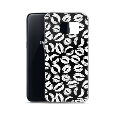 White Lipstick Kisses Lips on Black Samsung Phone Case