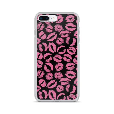 Pink Lipstick Kiss Lips on black iPhone Case