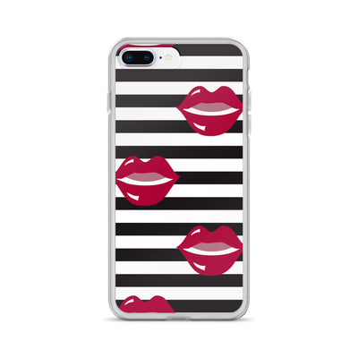 Rose Red Lips on Black & White Stripes iPhone Case