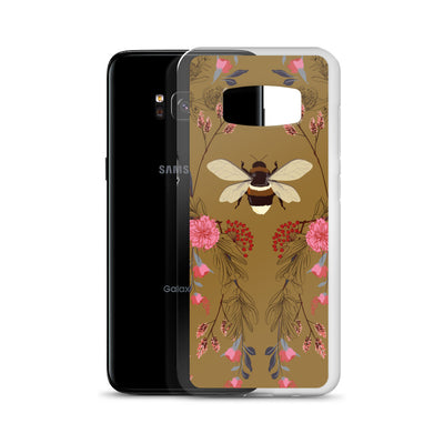 Bumble Bee Floral on Brown Samsung Phone Case