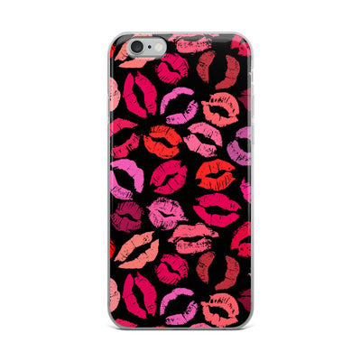 Shades of Pink Kiss Lips on Black Lipstick Kisses iPhone Case