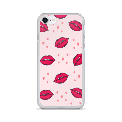 Pink Lips and Hearts iPhone Case