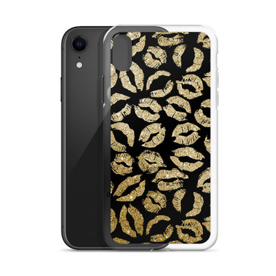 Gold Kiss Lips on Black Lipstick Kisses iPhone Case