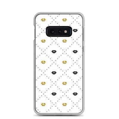 Black and Gold Lips Pattern Samsung Phone Case