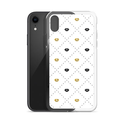 Black and Gold Lips Pattern iPhone Case