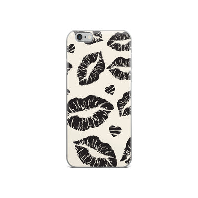 Black Lips & Hearts iPhone Case