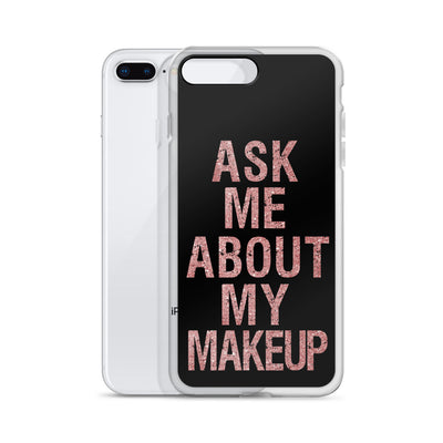 Ask me about my Makeup Rose Gold on Black iPhone Case