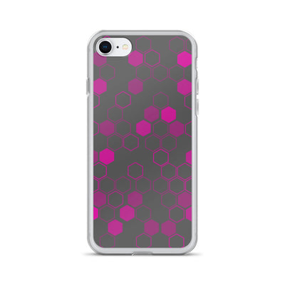 Pink Honeycomb on Gray iPhone Case