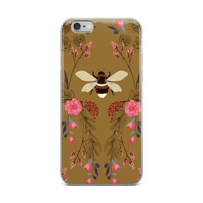 Bumble Bee Floral on Brown iPhone Case