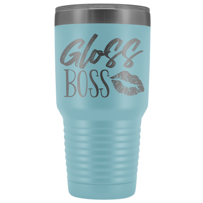 Gloss Boss Lips 30 oz Travel Tumbler | Etched / Engraved Stainless Steel Mug Hot/Cold Cup - 12 Colors Available