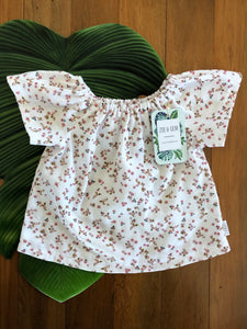 White Floral Peasant Top