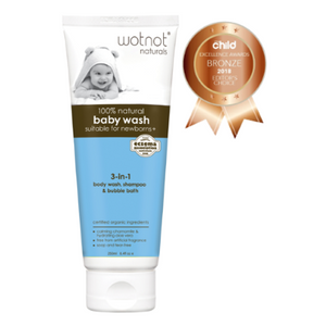 Wotnot 100% Natural & Organic 3-in 1 Baby Wash, Shampoo & Bubble Bath (250mL)
