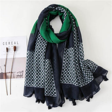 2 Tassel Scarves - Blue + Green CAN Be Seen