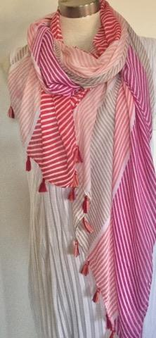 2 Tassel Scarves - Summer Splice Stripe