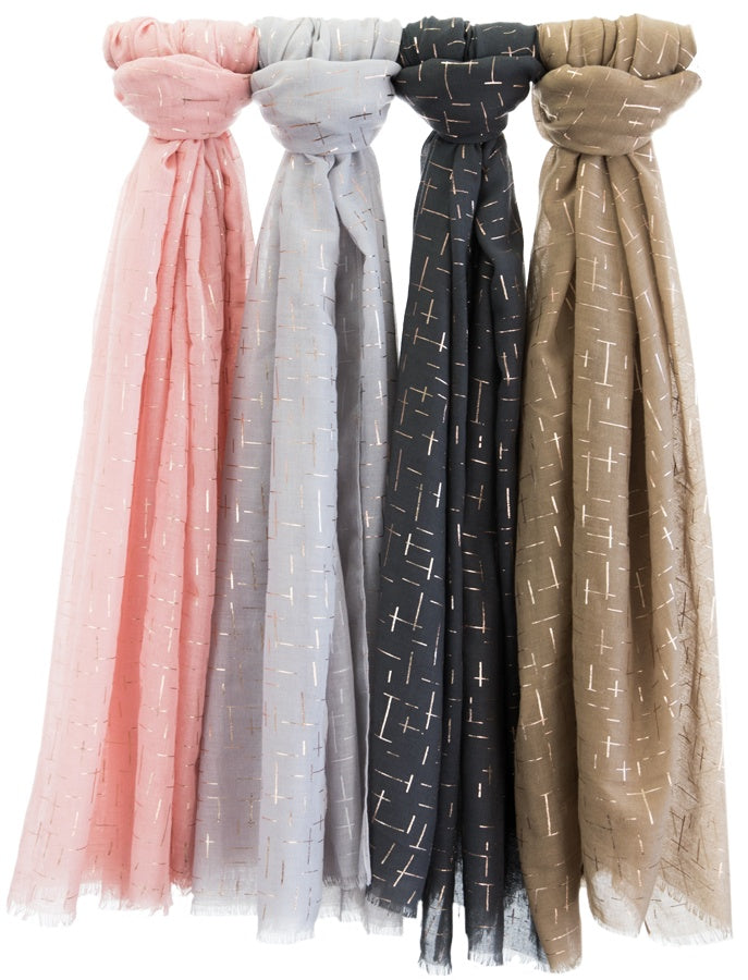 3 Foil Scarves - Rose Gold Foil