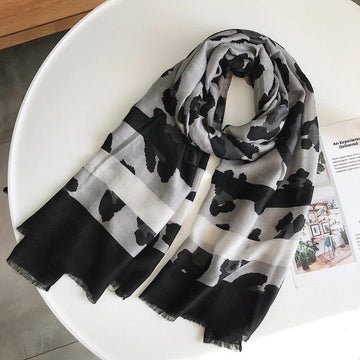 4 Raw Edge Scarf - Animal Print