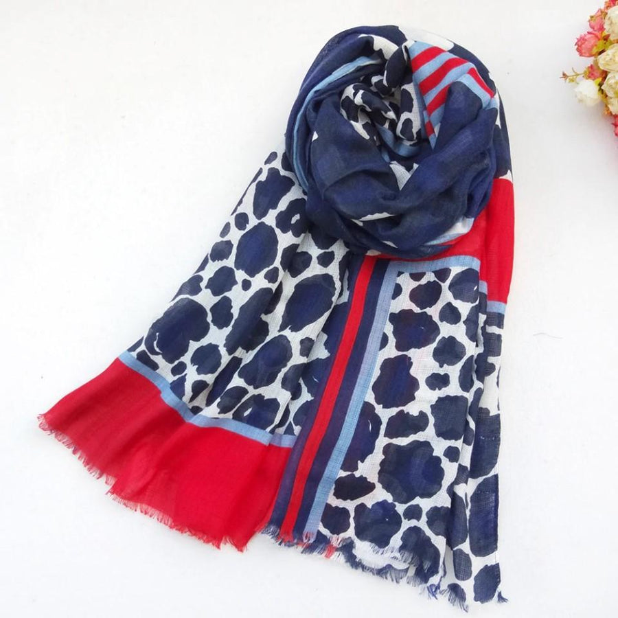 4 Raw Edge Scarf - Blue Safari