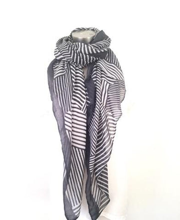 4 Raw Edge Scarf - Charcoal + White
