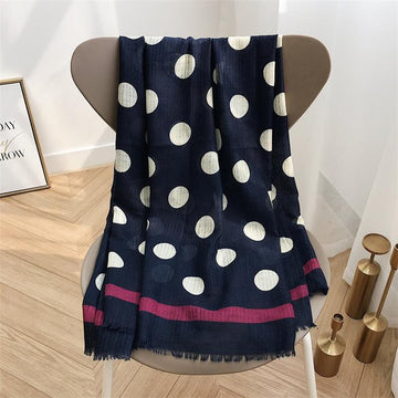 4 Raw Edge Scarf - Navy & White Polka Dot