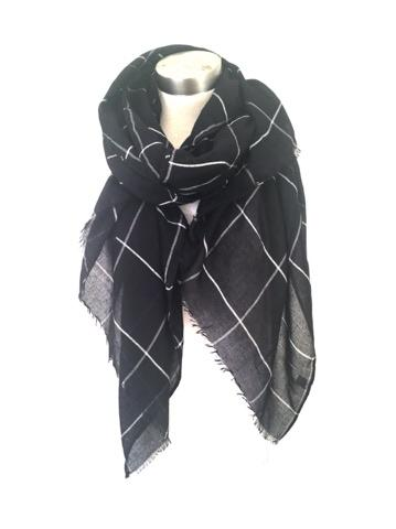 4 Raw Edge Scarf - White On Black